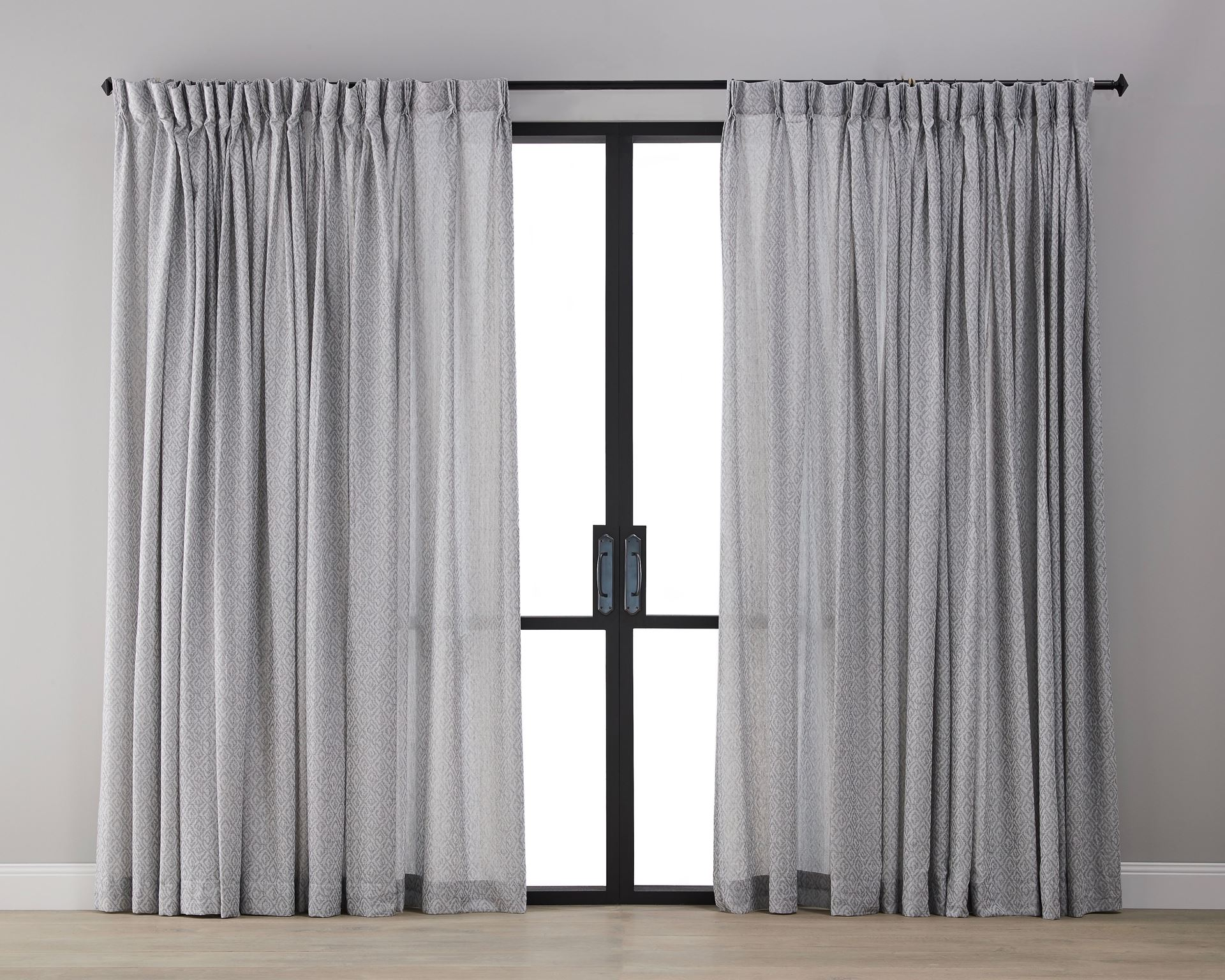 Picture of Diamond Pattern Linen Sheer  Curtain- Grey