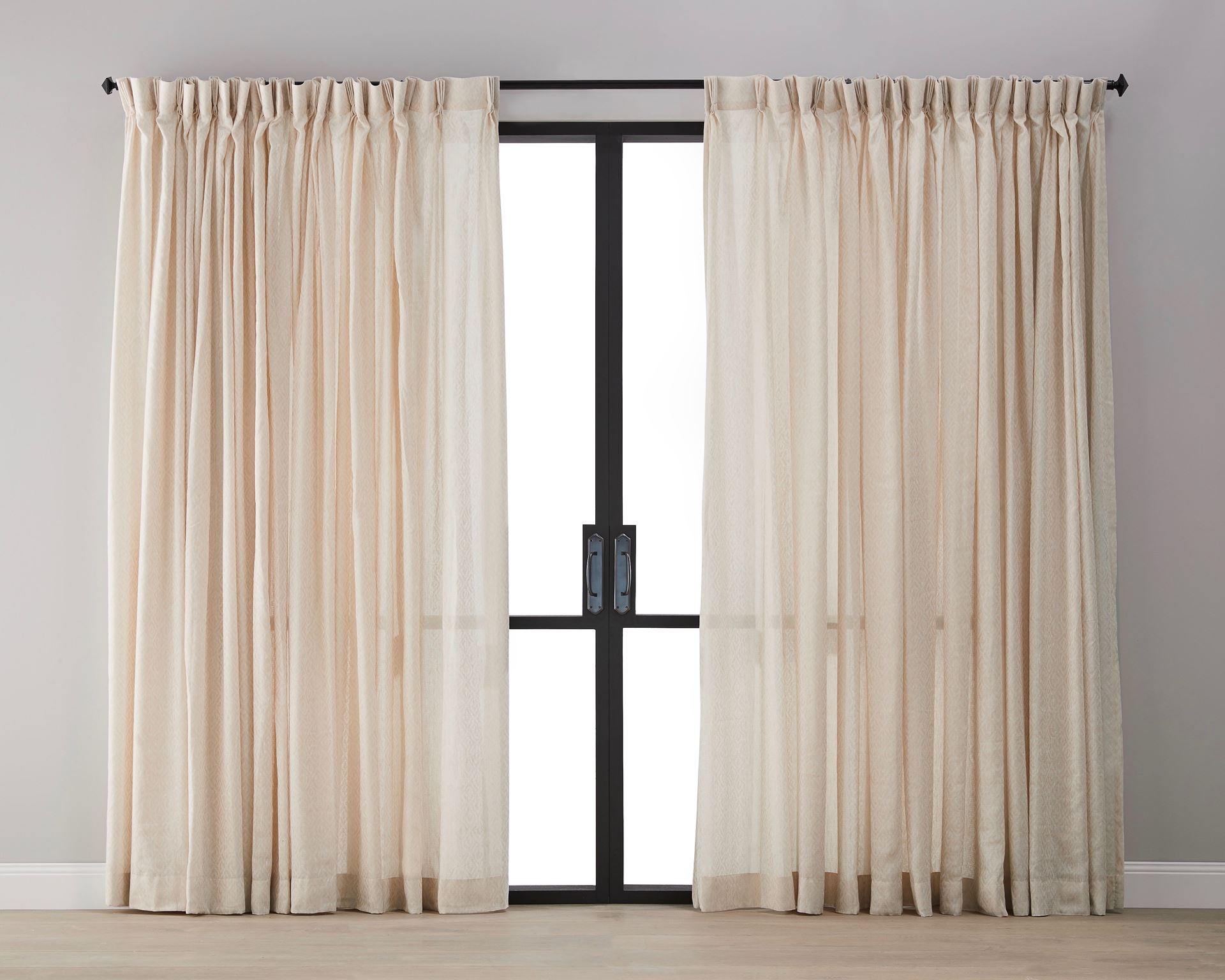 Picture of Diamond Pattern Linen Sheer Curtain - Tan
