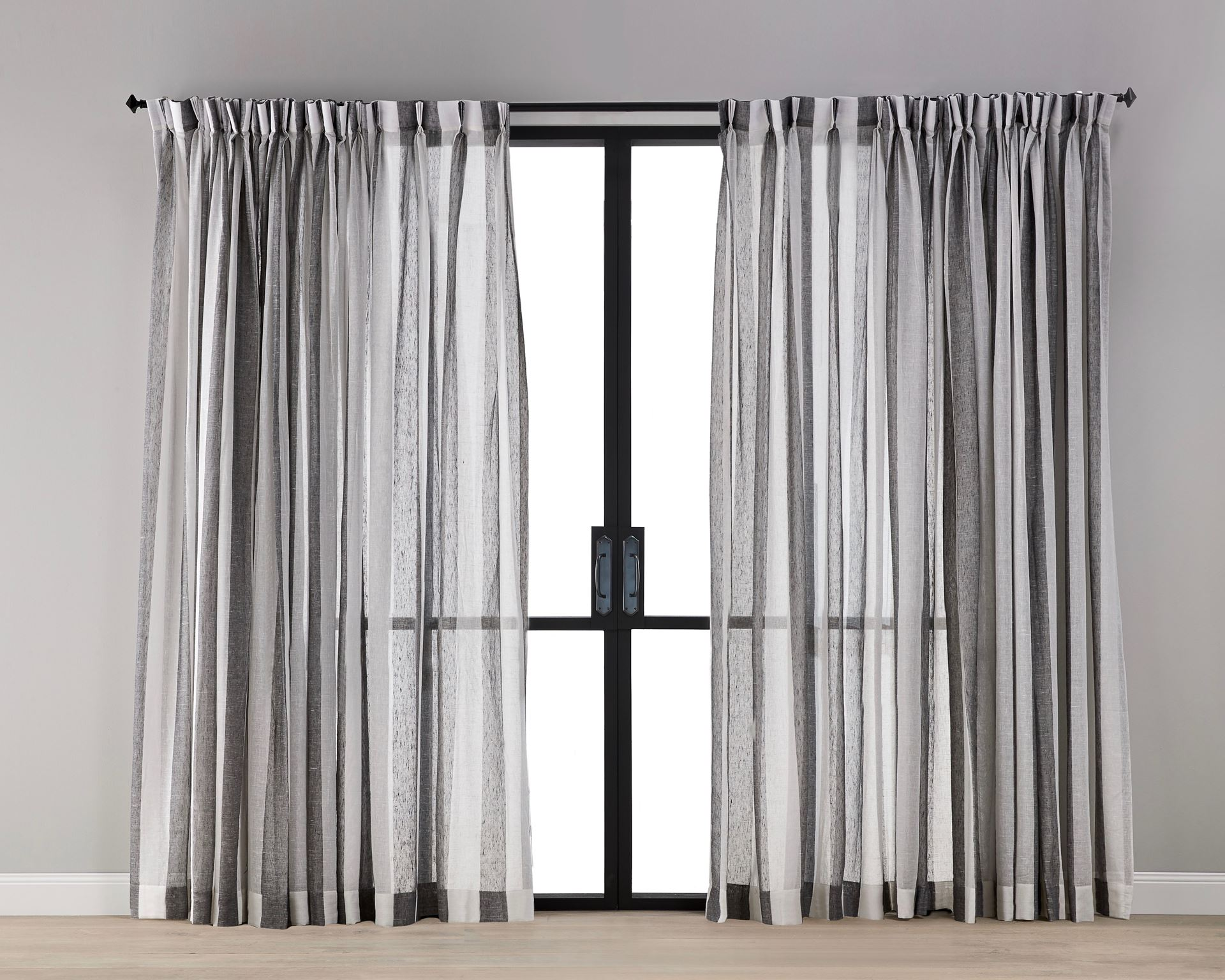 Picture of Grey White Stripe Sheer Curtain