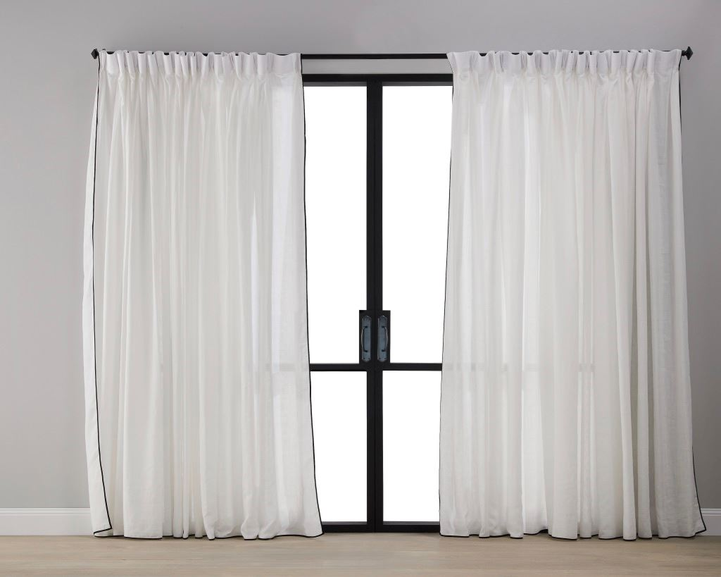 Picture of White with Black Trim Sheer Curtain