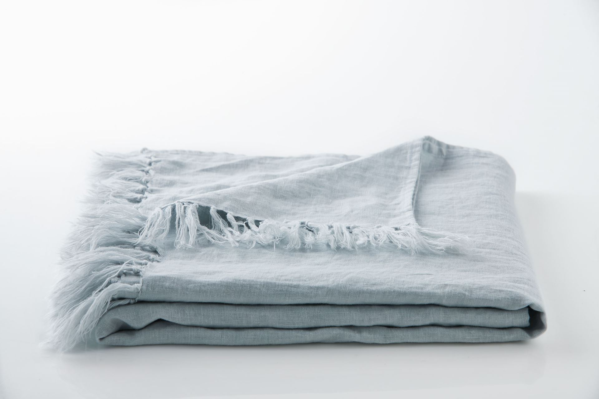 Picture of Linen Fringe Throw - Icy Blue